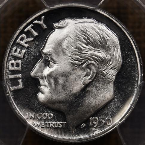 1950 Proof Roosevelt Dime PCGS PR67, Cameo Obverse