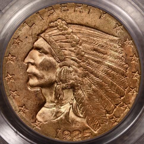1925-D $2.50 Indian Head Quarter Eagle PCGS MS64 CAC