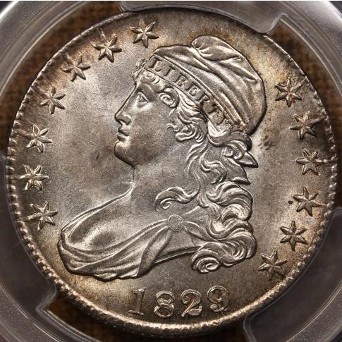 1829/7 O.102a R5- Capped Bust Half Dollar PCGS AU58, ex. Link