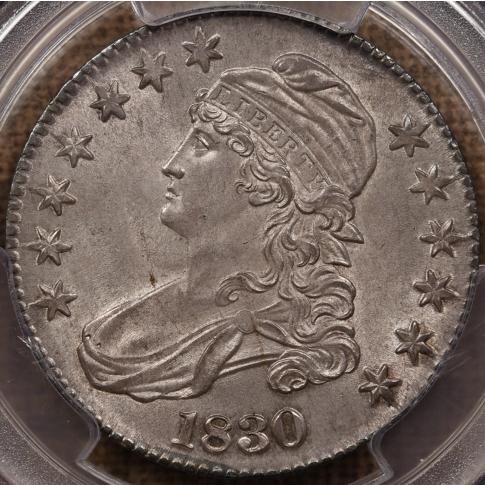 1830 O.121Large 0 Capped Bust Half Dollar PCGS MS64, ex. Eliasberg, Link