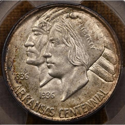 1936-D 50C Arkansas Silver Commemorative PCGS MS66