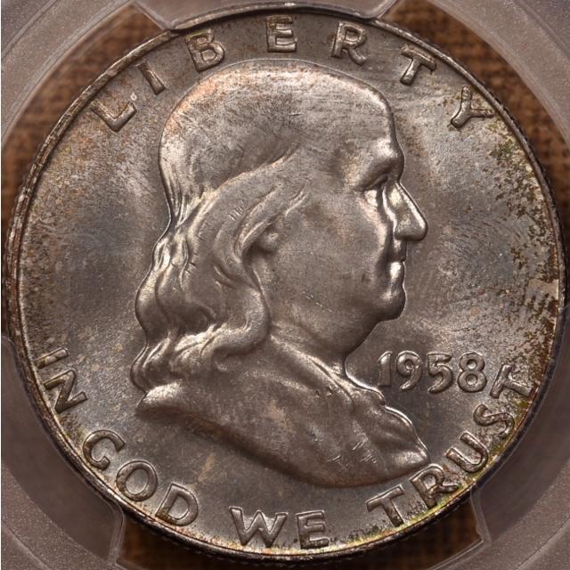 1958-D Franklin Half Dollar PCGS MS66 FBL, WOW mint set color!