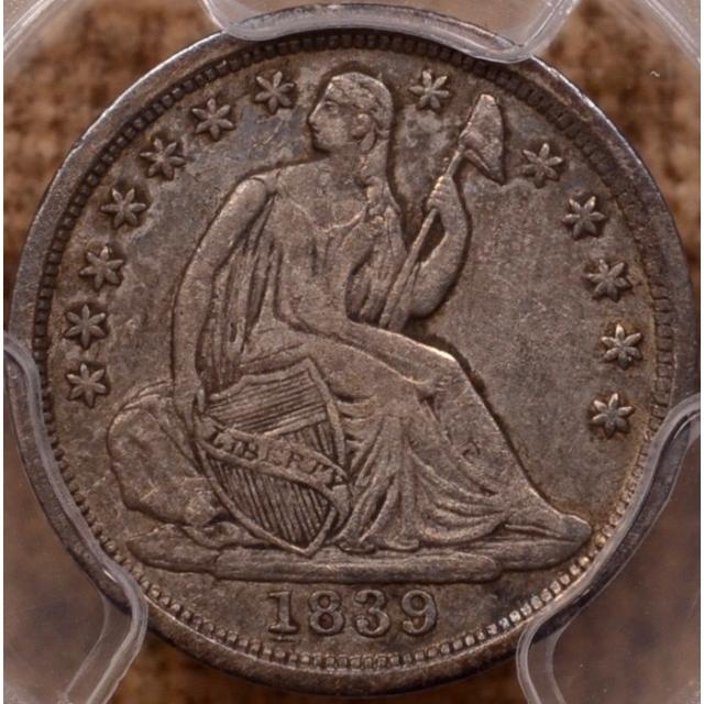 1839-O Small O No Drapery Liberty Seated Half Dime PCGS XF40, RPD
