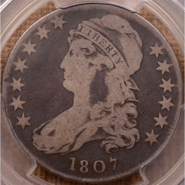 1807 O.111' (Prime die state) R7? Large Stars 50/20 Capped Bust Half Dollar PCGS VG8 (CAC)