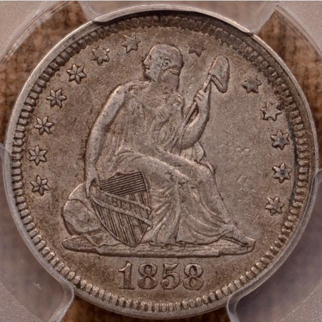 1858 Liberty Seated Quarter PCGS XF45