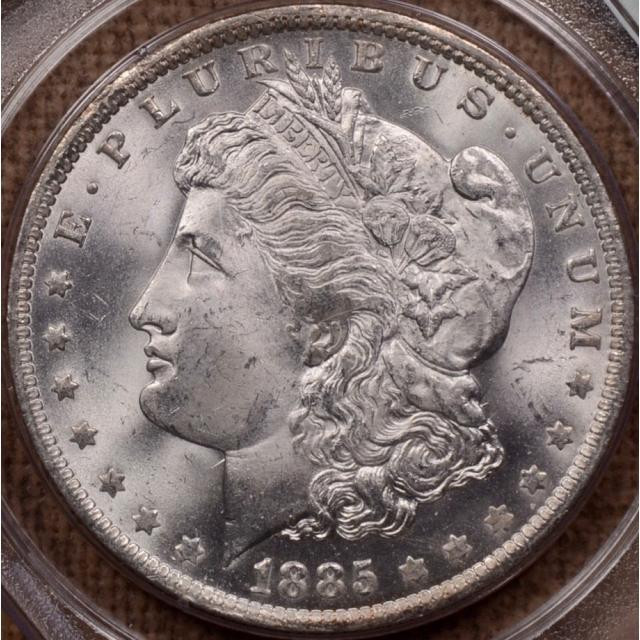 1885-O Morgan Dollar PCGS MS64, Rattler