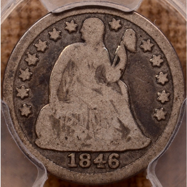 1846 Liberty Seated Dime PCGS G6 (CAC)