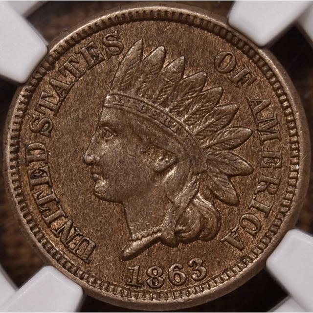 1863 Indian Cent NGC AU58