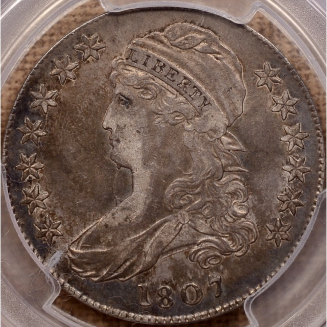 1807 O.111a R5 Bearded Goddess, Large Stars 50/20 Capped Bust Half Dollar PCGS XF45 CAC