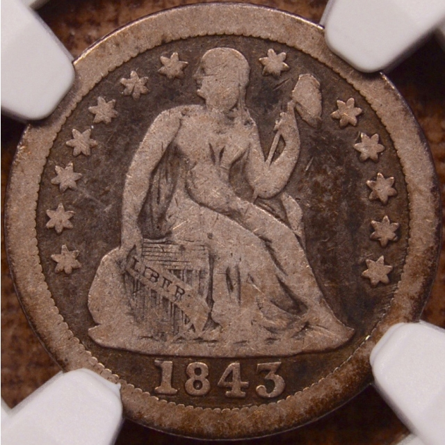 1843-O Seated Liberty Dime NGC VG10 CAC