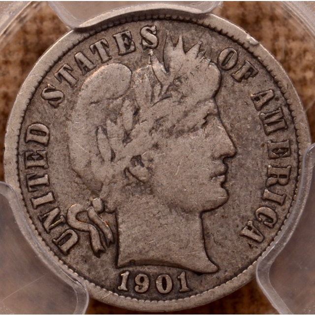 1901-S Barber Dime PCGS F12 (CAC)