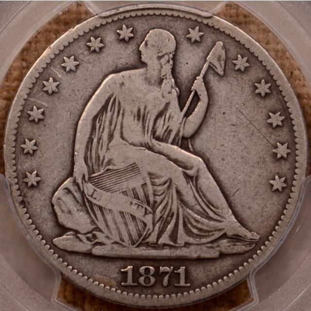 1871-CC WB-4 R4 Liberty Seated Half Dollar PCGS VG10 (CAC)