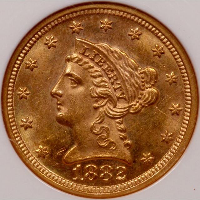 1882 Quarter Eagle $2.50 NGC MS63