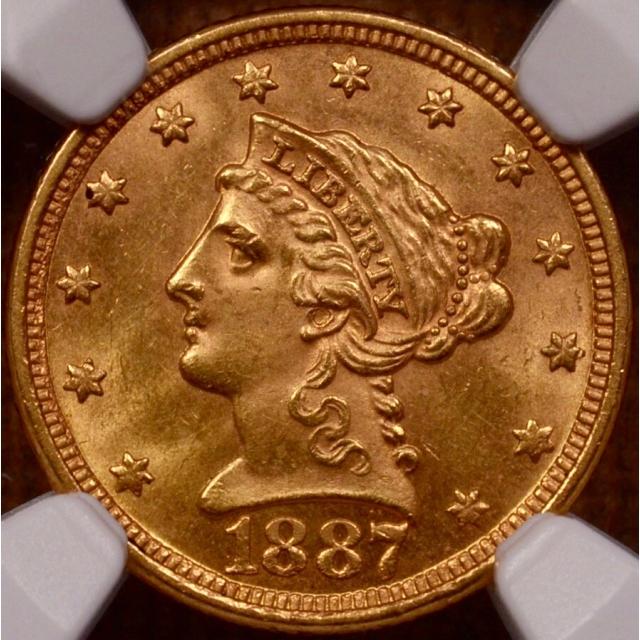 1887 Quarter Eagle $2.50 NGC MS62+ (CAC)