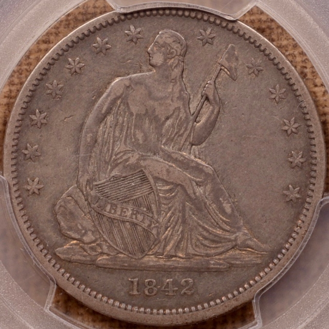 1842 WB-7 Small Date, Rev 1842 Liberty Seated Half Dollar PCGS VF30, EDS, Retained Rim Cud