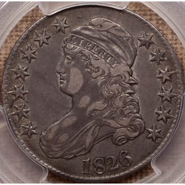 1826 O.109 Capped Bust Half Dollar PCGS XF40, unlisted very late die state