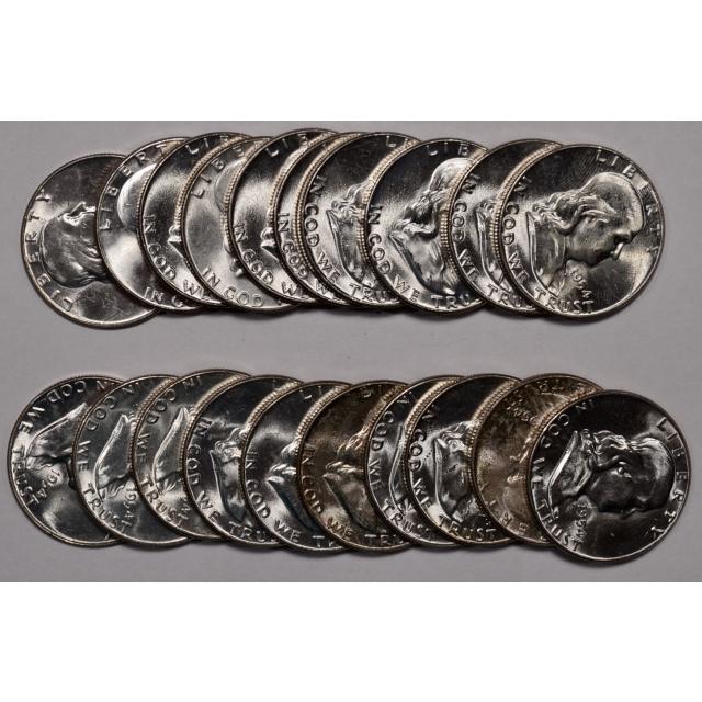 1954 BU Franklin Half Dollar Roll, Choice BU