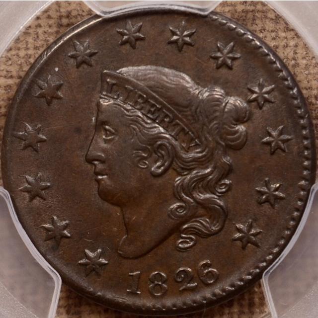 1826/5 N.8 Coronet Head Cent PCGS AU53 CAC