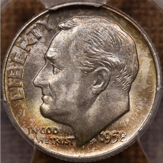 1958-D Roosevelt Dime PCGS MS67 FB, color!