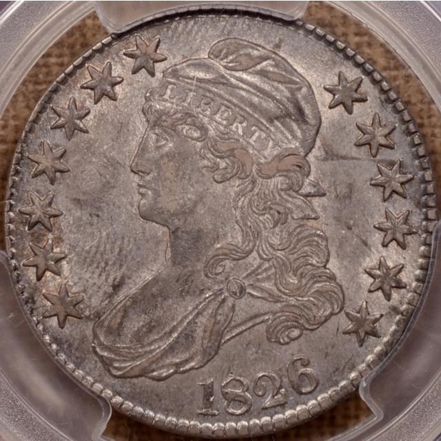 1826 O.110 Capped Bust Half Dollar PCGS AU53 CAC