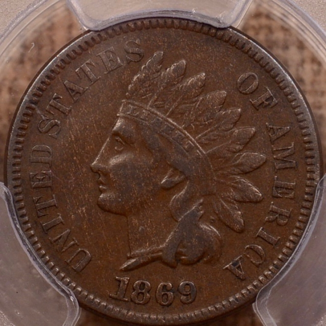 1869/69 S.4 Indian Cent PCGS VF30 CAC