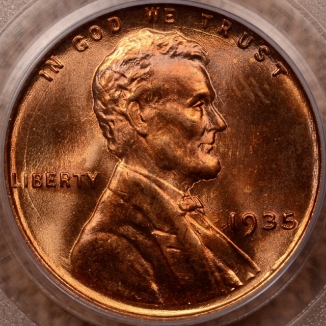 1935 Lincoln Cent PCGS MS66 RD