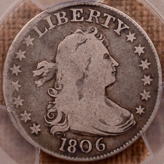 1806 B.4 R4 Draped Bust Quarter PCGS VG8 (CAC)