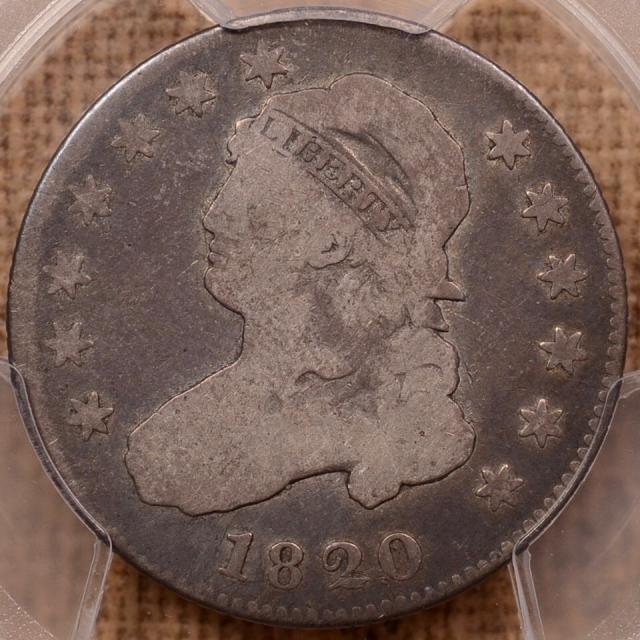 1820 B.5 R5 Small 0 Capped Bust Quarter PCGS G6