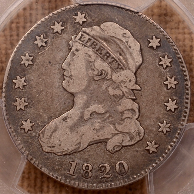 1820 B.5 R5 Small 0 Capped Bust Quarter PCGS F15 (CAC)