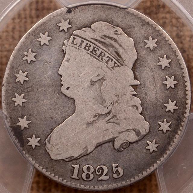 1825/4/(2) B.2 Capped Bust Quarter PCGS G6