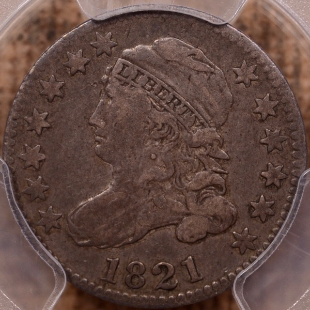 1821 JR-7 Large Date Capped Bust Dime PCGS VF35 CAC