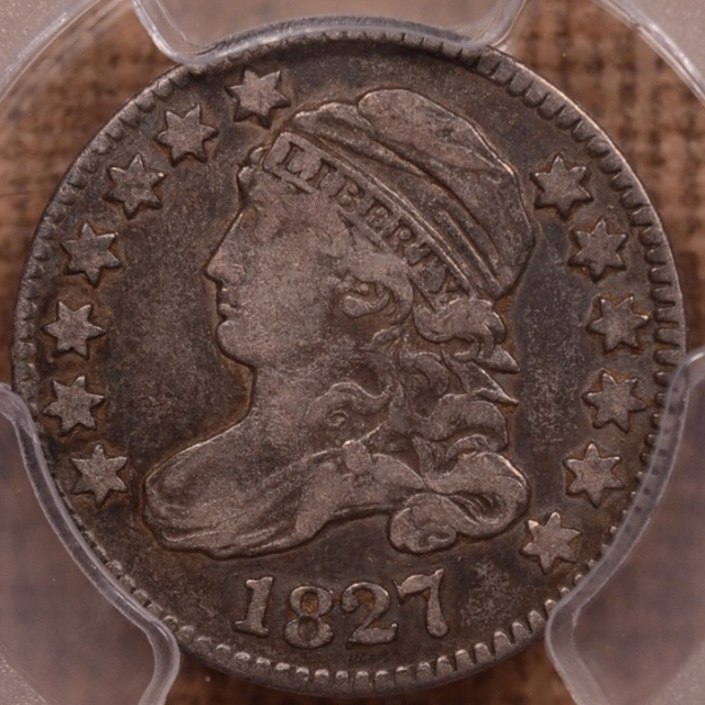 1827 JR-9 R4+ Capped Bust Dime PCGS VF30 (CAC)