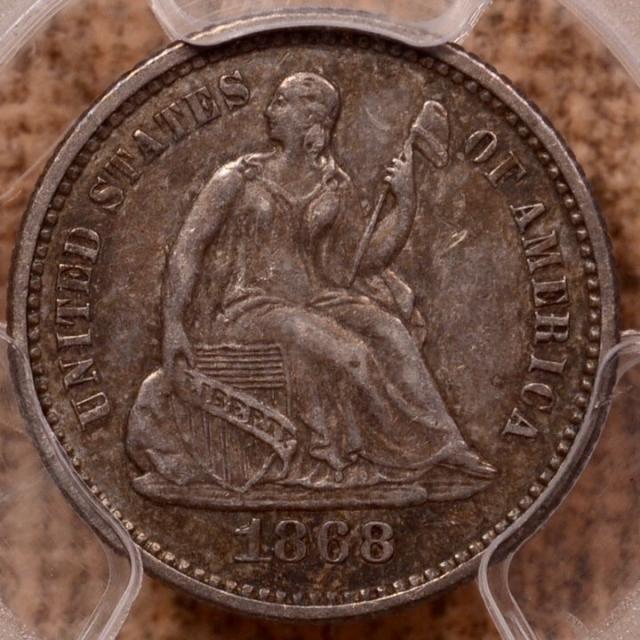 1868 Liberty Seated Half Dime PCGS AU50