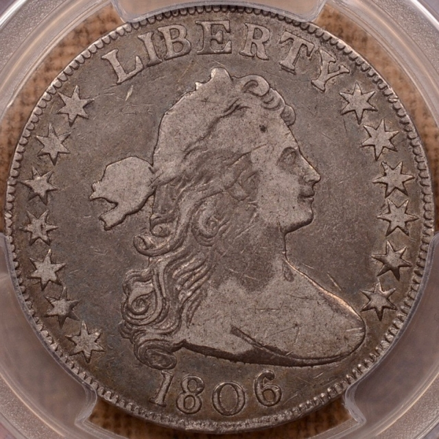 1806 O.105 Knob 6, Small Stars Draped Bust Half Dollar PCGS VF25 CAC