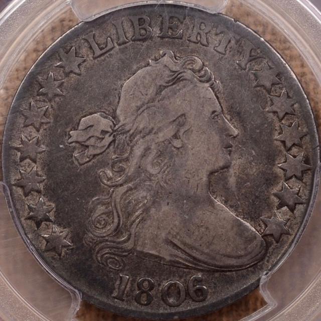 1806/5 O.103 Draped Bust Half Dollar PCGS F15 (CAC)