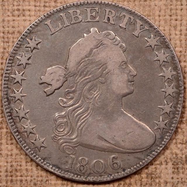 1806 O.105a Knob 6, Large Stars Draped Bust Half Dollar, Overton Plate Coin