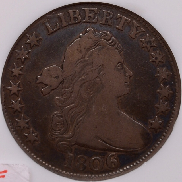 1806 O.111a R4 6 over Inverted 6 Draped Bust Half Dollar, NGC F12
