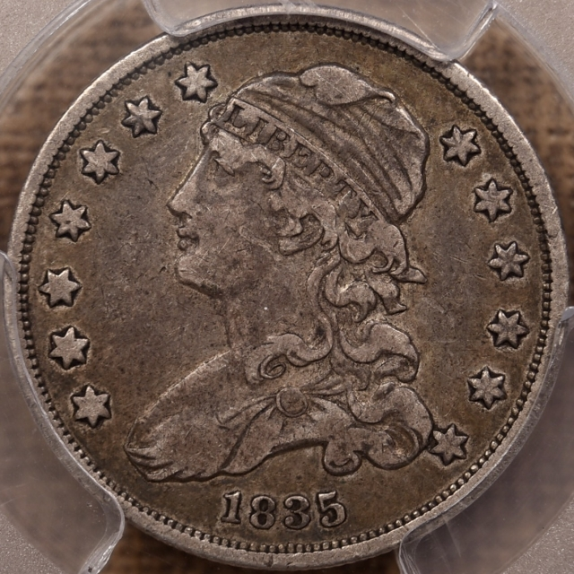 1835 B.7 Capped Bust Quarter PCGS VF30 CAC