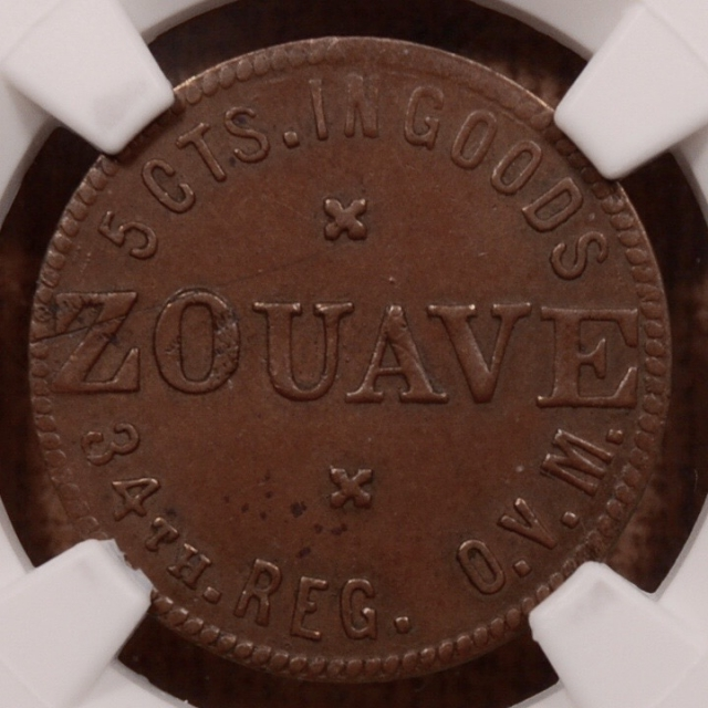 (1861-65) OH S-O5C R6 ZOUAVE SUTLER NGC AU55 BN