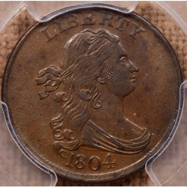 1804 C.10 Crosslet 4, Stems Draped Bust Half Cent PCGS AU55+BN (CAC)