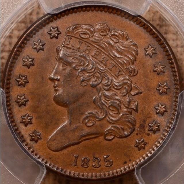 1835 Classic Head Half Cent PCGS AU58+BN (CAC)