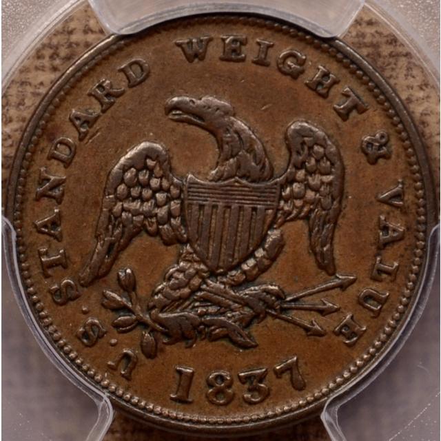 1837 HT-73 Hard Times Token HALF CENT OF COPPER PCGS AU53