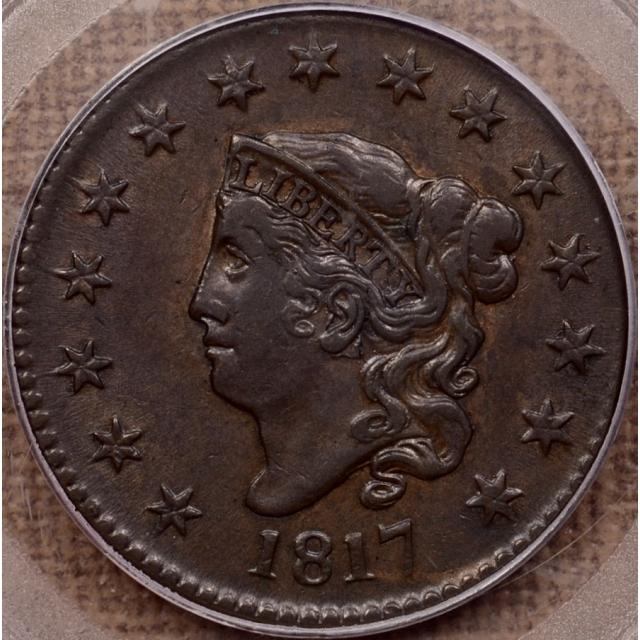 1817 N.16 15 Stars Coronet Head Cent PCGS AU53 CAC, ex. Al Boka
