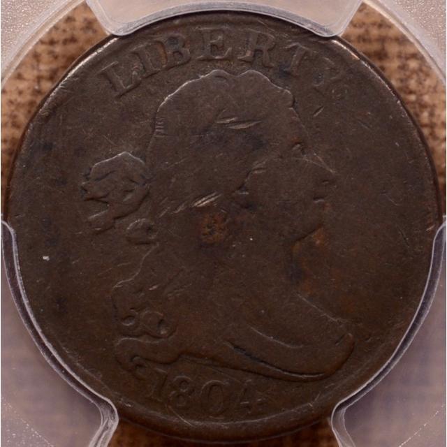1804 C.4 R5 Crosslet 4, Stems Draped Bust Half Cent PCGS G6