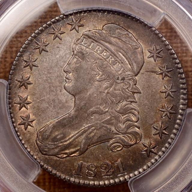 1821 O.101a Capped Bust Half Dollar PCGS AU53 CAC