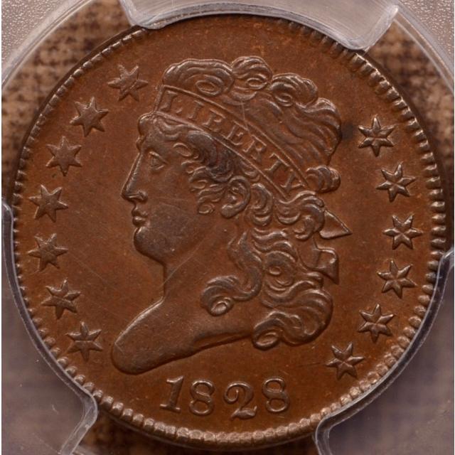 1828 13 Stars Classic Head Half Cent PCGS AU55 (CAC)