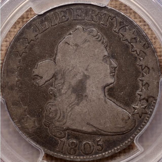 1805 O.104a (T-10) R6+? Draped Bust Half Dollar PCGS G6 CAC, Cool Obverse Cud