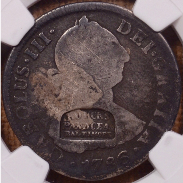 (c.1836) Houck's Panacea, HT-143, Baltimore MD on 1786 Mexican 2 Reales NGC G6
