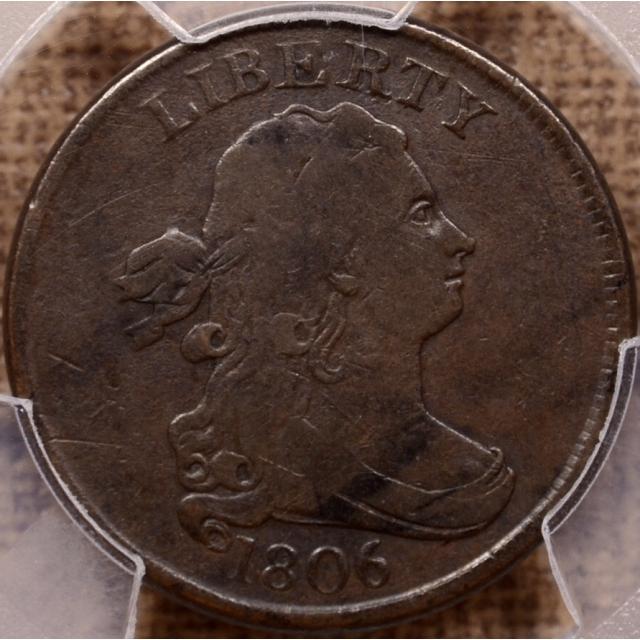 1806 C.2 R4 Small 6, Stems Draped Bust Half Cent PCGS F12 (CAC)