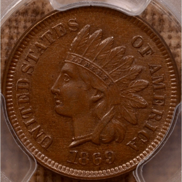 1869/69 FS-301 RPD S-3f Indian Cent PCGS AU58 (CAC)